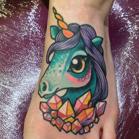 Tattoo unicorn blue new school