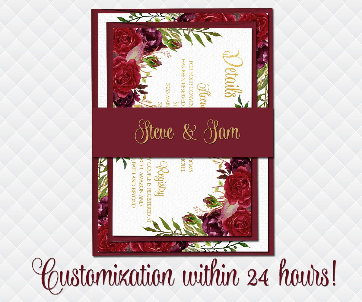 Marsala Wedding Invitation set Printable Boho Invite Suite floral ...