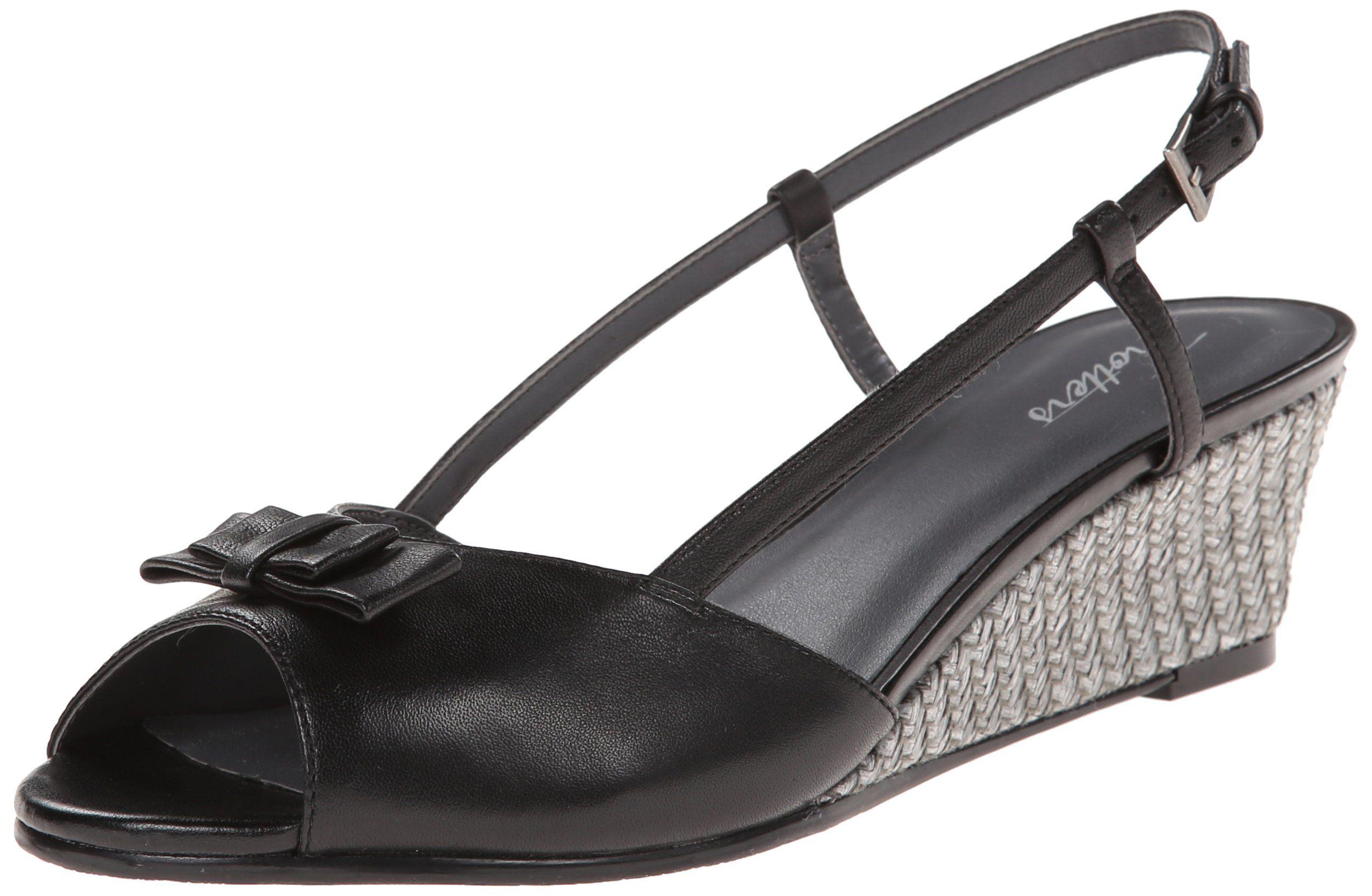 Black wedge sandals 2 inch heel - Trotters Women S Milly Wedge Sandal Black Leather 12 W Us 2 Inch Wedge