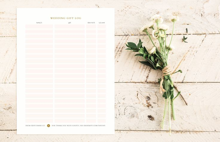 free printable wedding gift log from skipt paper co you me