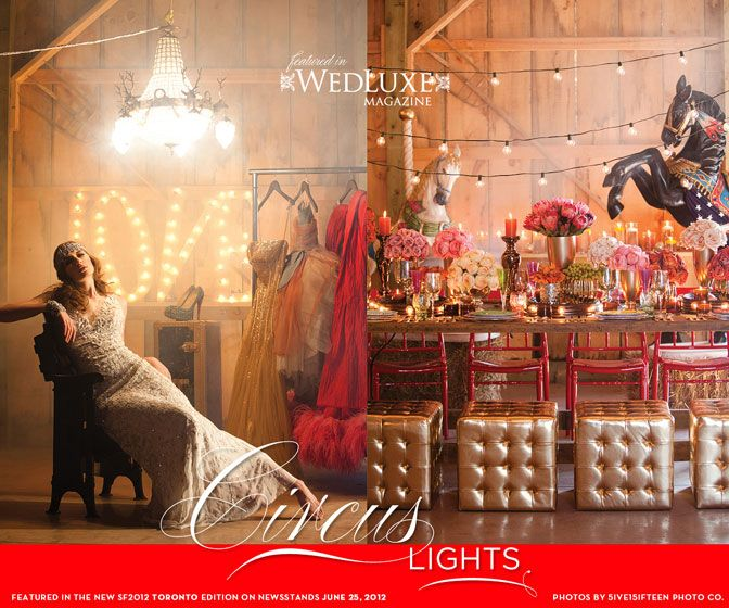 """Circus Love"" feature from WedLuxe Magazine. via wedluxe.com"