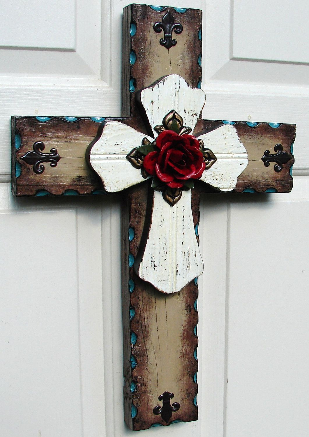 Rustic Cross With Red Rose Beautiful Love The On It