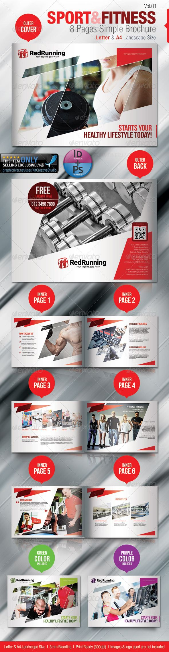 Fitness  Sport  Pages Simple Brochure  Brochures Layouts And