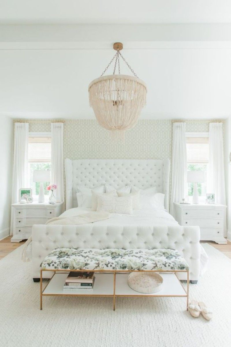 Elegant and luxurious, this all-white bedroom has a feminine ...