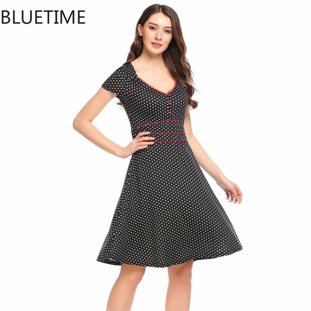 Bluetime vintage dress women s medieval retro polka dot pin up