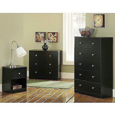 Bedroom Furniture Set Black 3 Piece Dorm College Bedroom Dresser