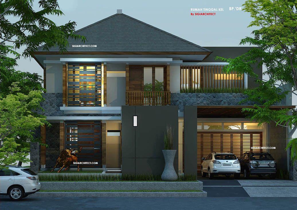 Desain Rumah Pojok Tropis Modern Unik Dengan Aksen Material Kayu Pada Finishing Fasade Rumah Lahan Desain Rumah Eksterior Desain Rumah 2 Lantai Rumah Tropis