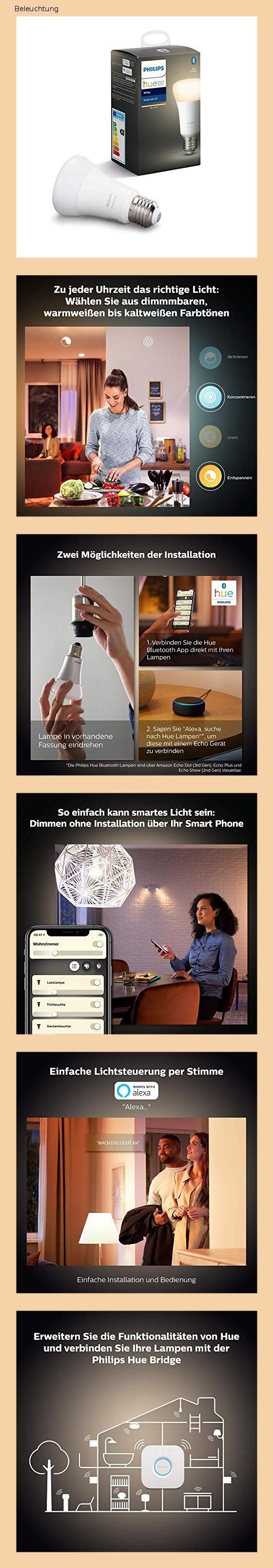 Philips Hue White E27 Led Lampe Einzelpack Dimmbar Warmweisses Licht Steuerbar Via App Kompati In 2020 Led Lampe Led Lampe