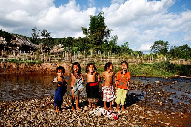 Happy children in Bam Lam Noung, Laos by phitar