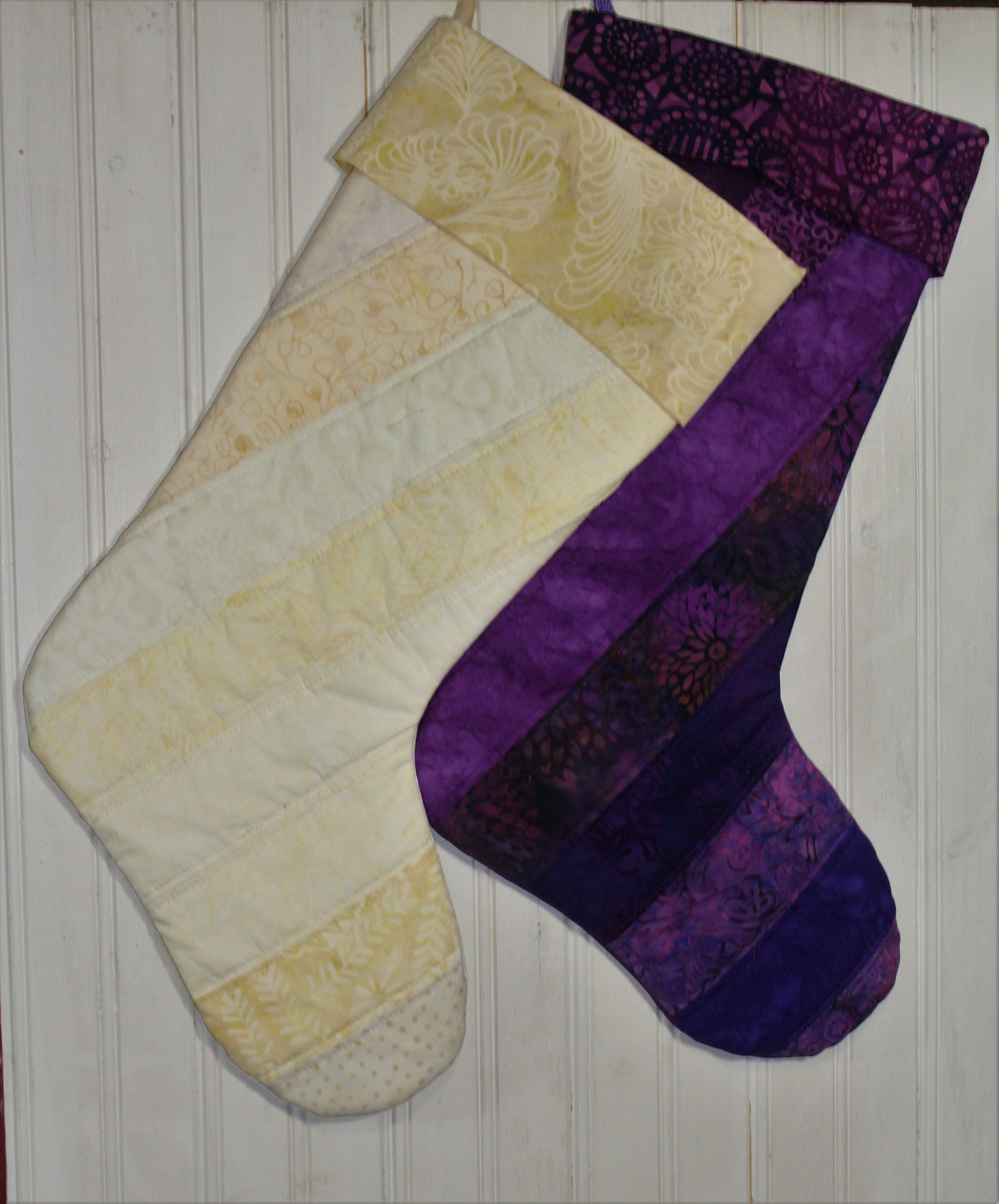 Ivory Or Purple Christmas Stocking  Quilted Christmas Stocking