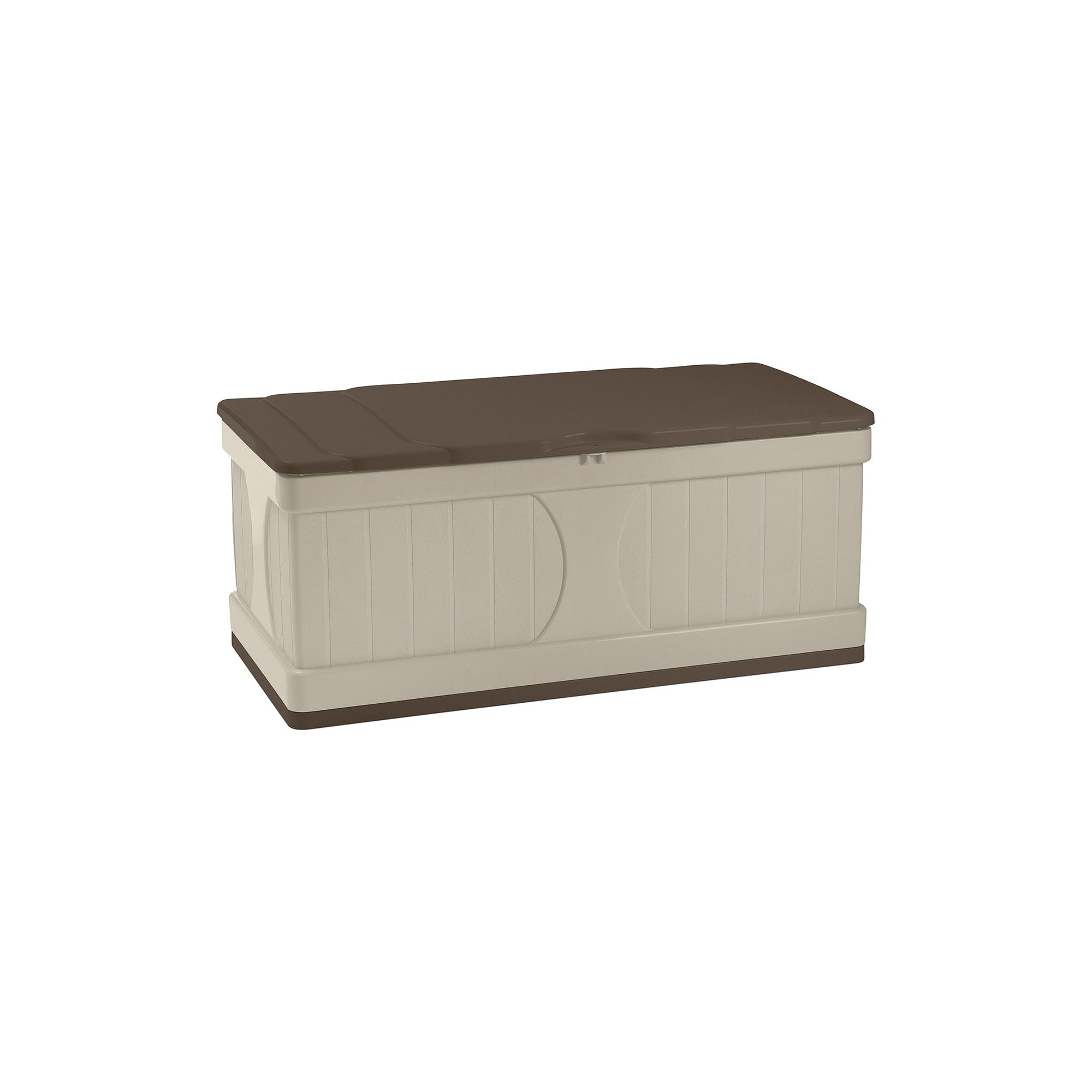 gallon two tone deck box taupe brown suncast deck box