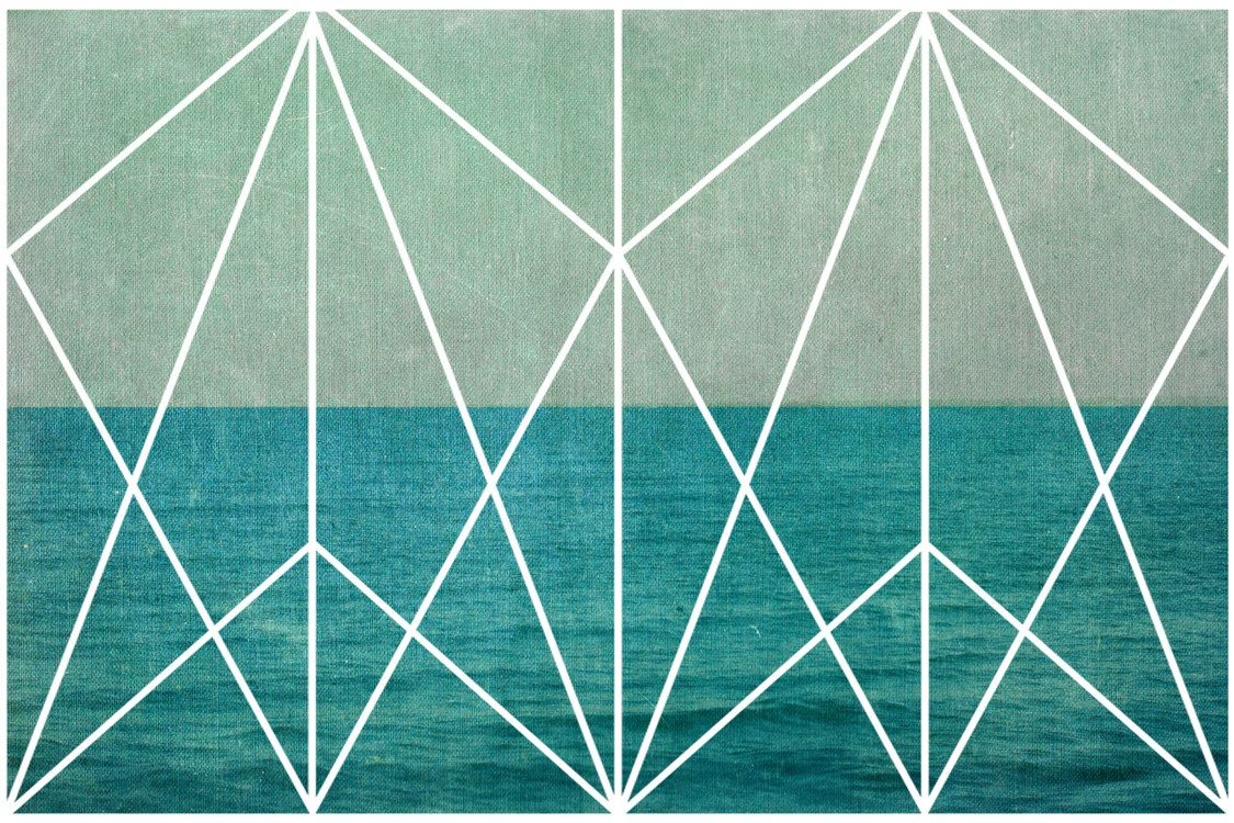 geometric design art nouveau ocean waves print nautical. Black Bedroom Furniture Sets. Home Design Ideas