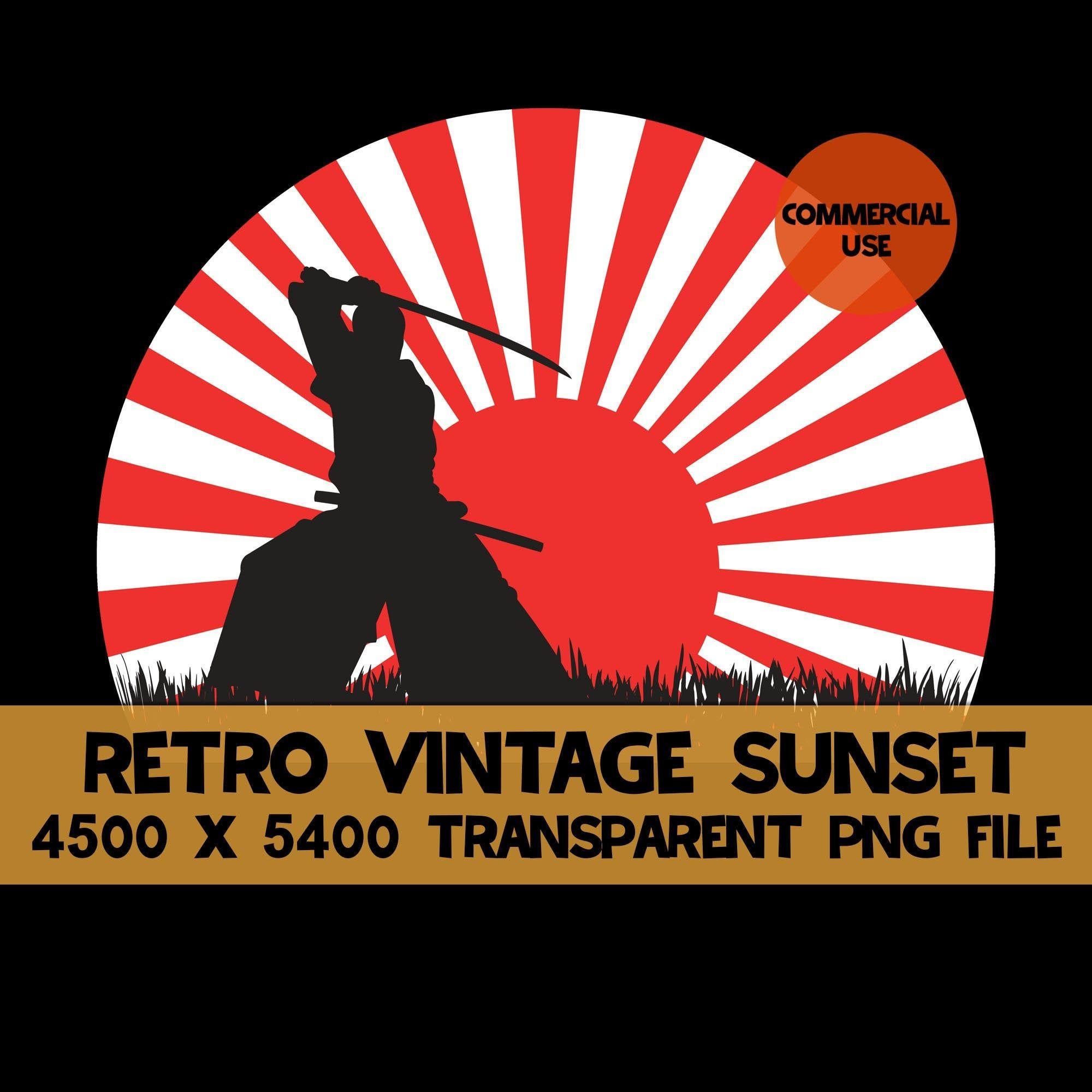 Samurai Japanese Warrior Red Rising Sun Sunset Clip Art Png File Sunrise Rays Instant Download Template Commercia Japanese Warrior Clip Art Retro Color Palette