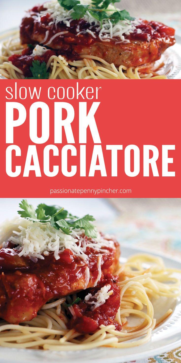 Slow Cooker Pork Cacciatore Pork crockpot recipes, Slow