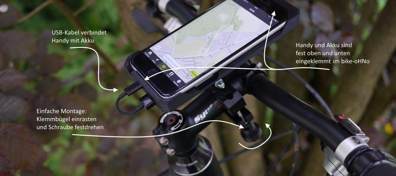 Fahrradhalterung mit extra Akku/ Fahrradhalterung Smartphone/ Ohno
