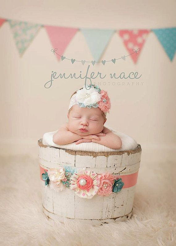 Inspiration for new born baby photography coral pink and aqua headband and maternity sash or infant wrap set with lace rosettes chiffon flowers and