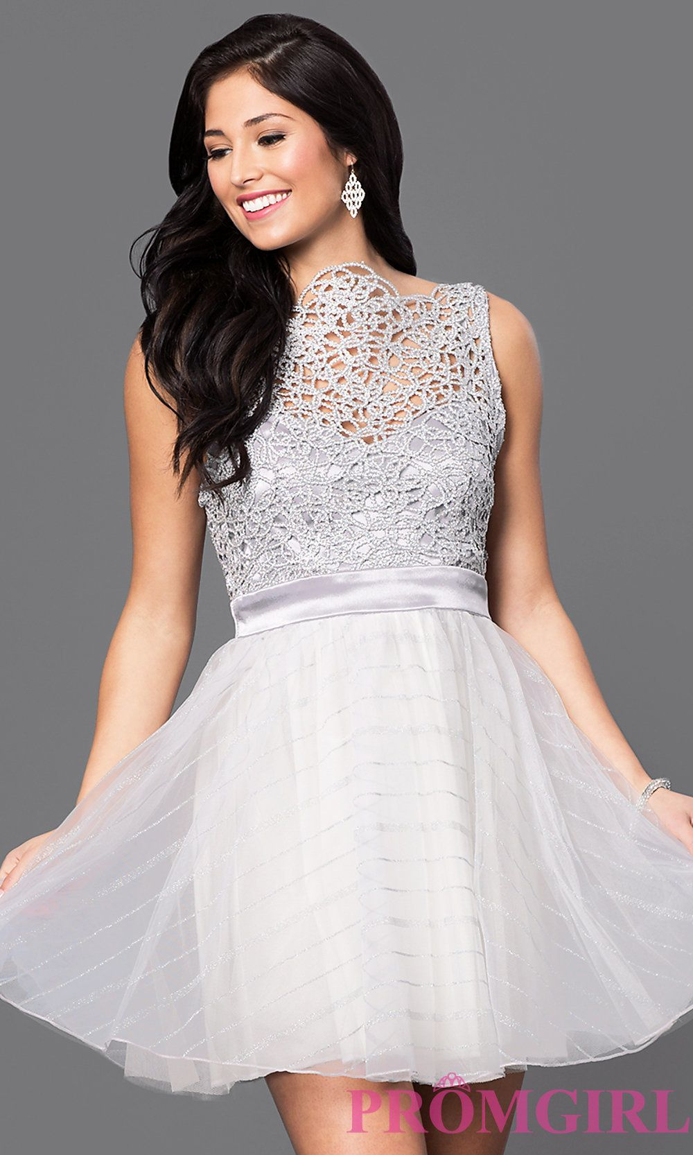 Beadedbodice short silver homecoming dress in prom