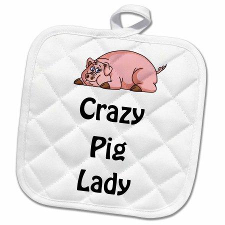 3drose Crazy Pig Lady Pot Holder 8 By 8 Inch White Pig Kitchen Decor Pig Kitchen Pig Quilt