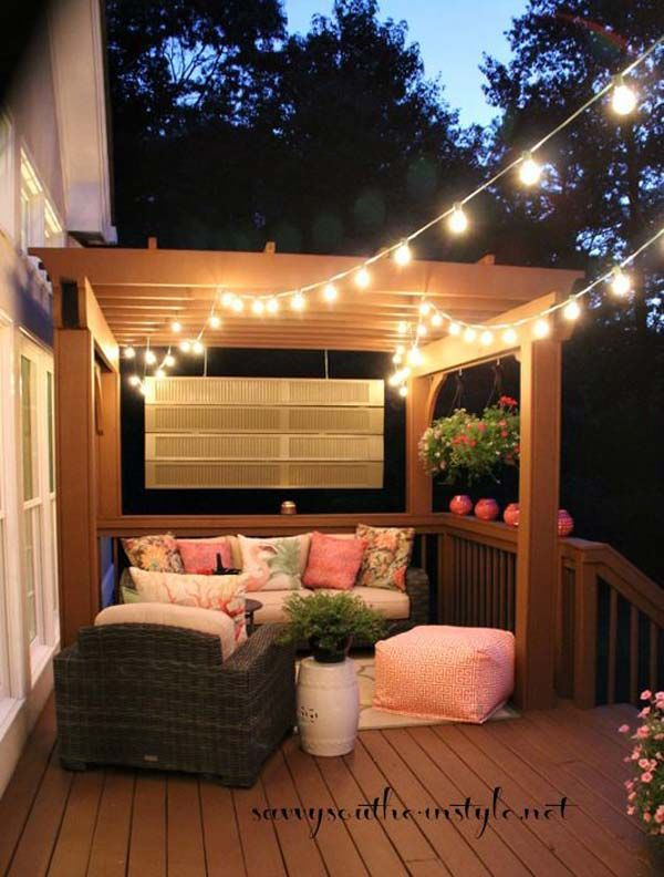 How To Hang String Lights On Covered Patio Magnificent 27 Diy String Lights Ideas For Fall Porch And Yard  Porch Yards Design Decoration
