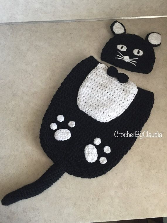 Crochet Fancy Black Kitty Beanie and Cocoon set with Pink Or White ...
