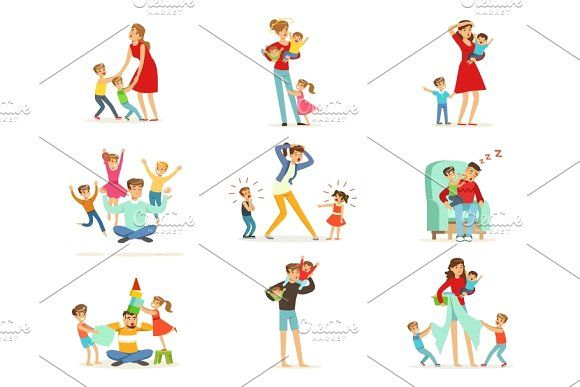 Photo of Tired parents and their children set, parenting stress vector Illustration by To…
