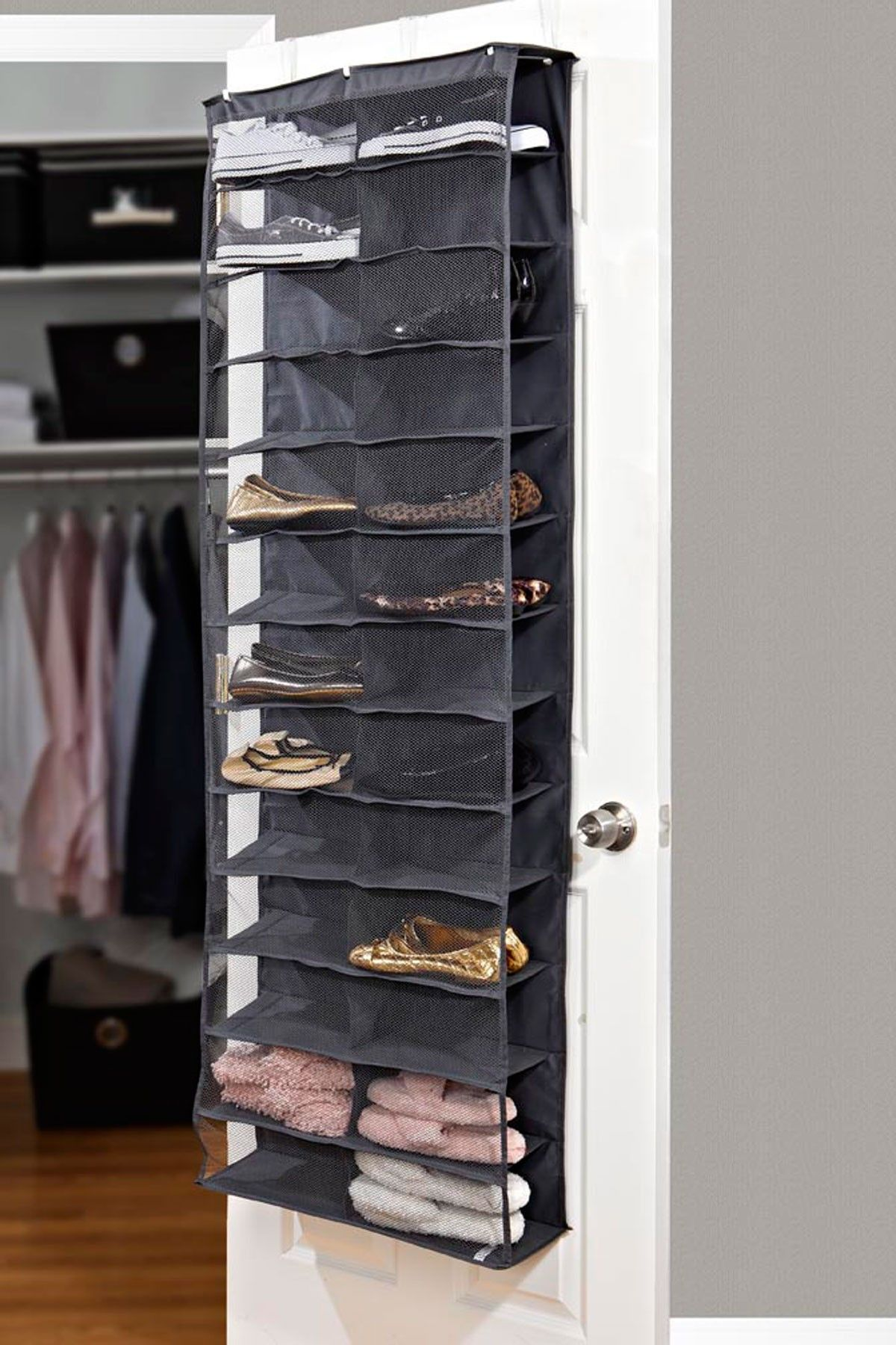 26 Pocket Over The Door Shoe Organizer Grey Organize Me