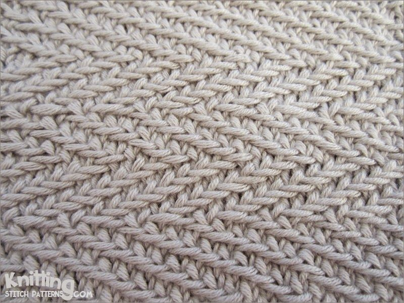 The Woven Transverse Herringbone stitch creates a thick and close knitted tex...