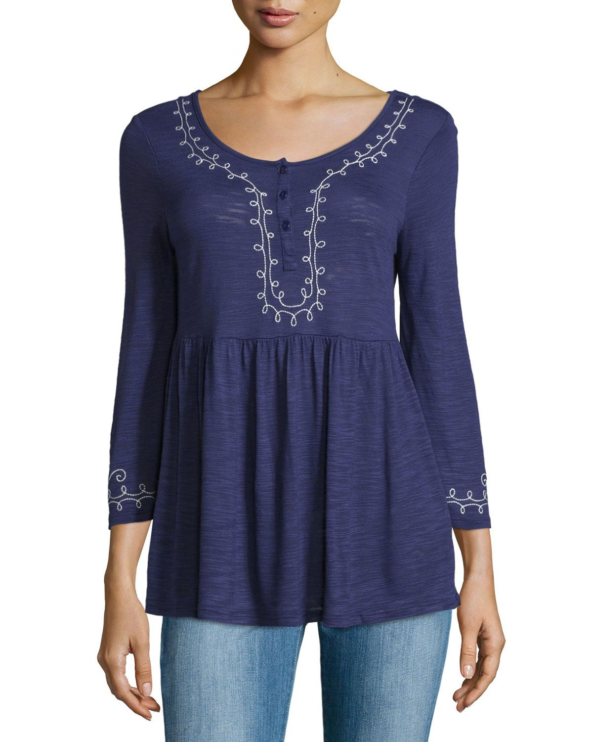 f775f2b2d6e Neiman Marcus Embroidered Long-Sleeve Henley Tunic, Navy Blue, Women's,  Size: S