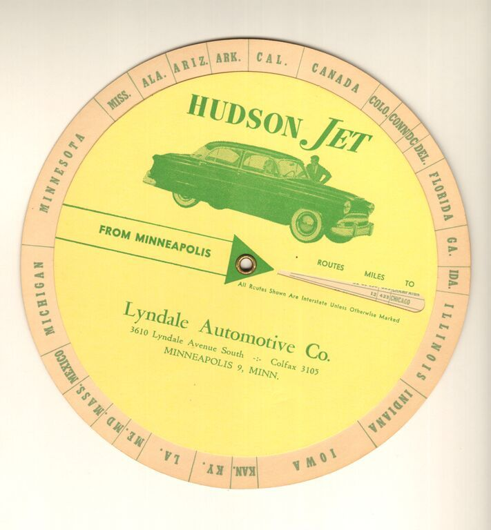 The Hudson Jet, produced by the Hudson Motor Car Company in 1953 and 1954, as seen on advertising materials distributed by the Lyndale Automotive Company in Southwest Minneapolis. From the Hennepin History Museum Collection.