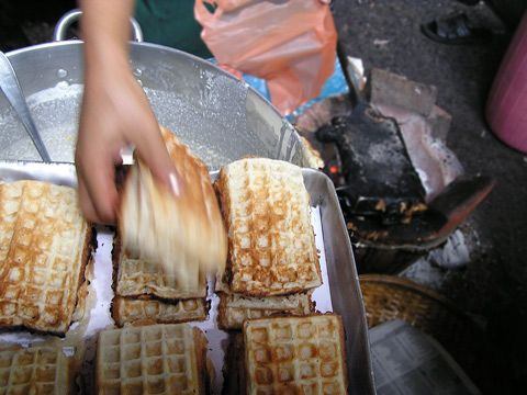 Cambodian Waffles. These are the best waffles ever...coconut flavor and so soft. My favorite treats from back at home.