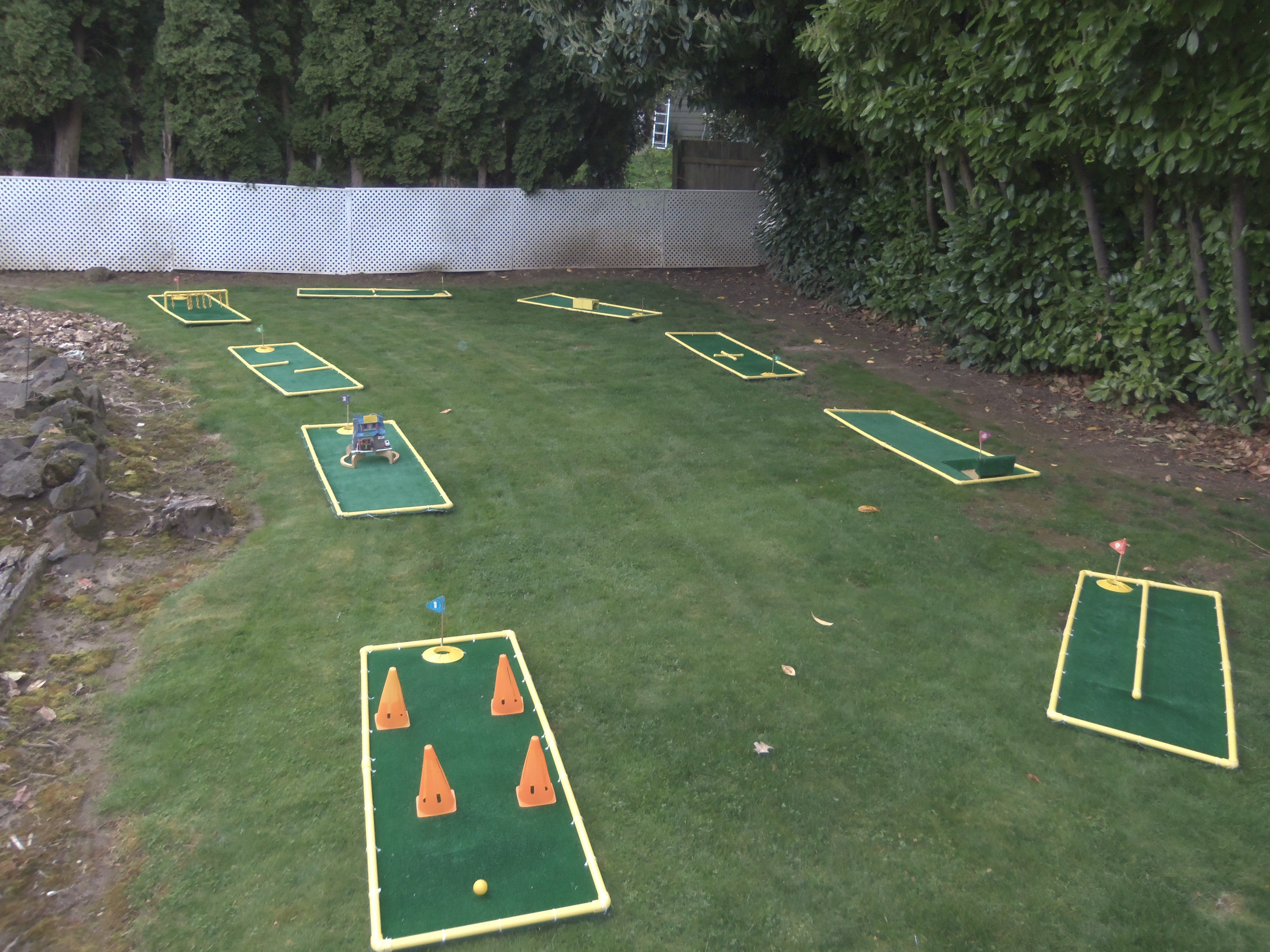 A 9 Hole Course I Layed Out In My Backyard Carnival Games For Kids Carnival Games Outdoor Kids Mini golf in my backyard
