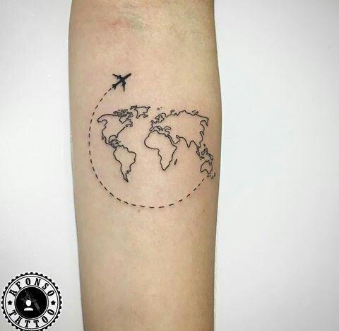 Aereo Mappa del mondo di tatuaggi di viaggio – Tatuaggi e piercing – #Pane #Piercing #Re …