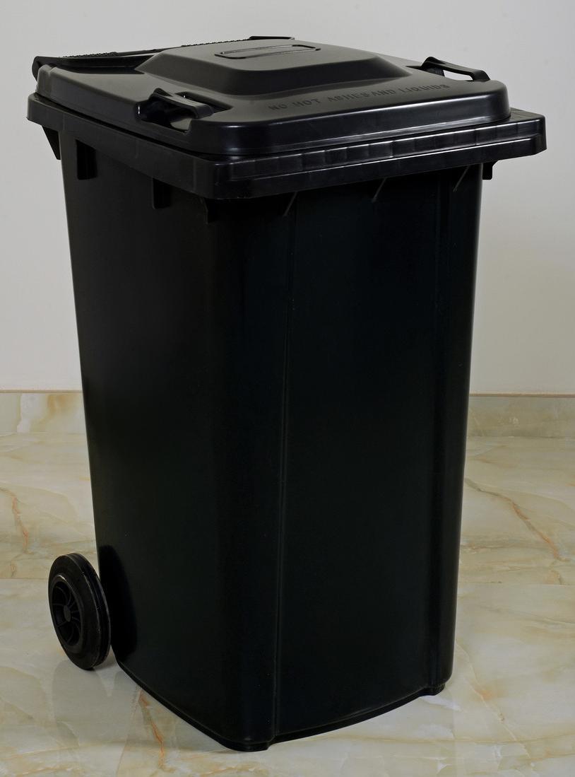درام 240 لتر اسودblack Waste Basket 240 Liter Trash Can Plastic Items Trash