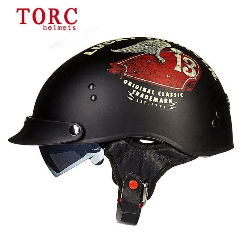 a2f138ea0f7d4 Encontrar Más Cascos Información acerca de Nueva llegada T 55 TORC  motocicleta medio casco retro casco