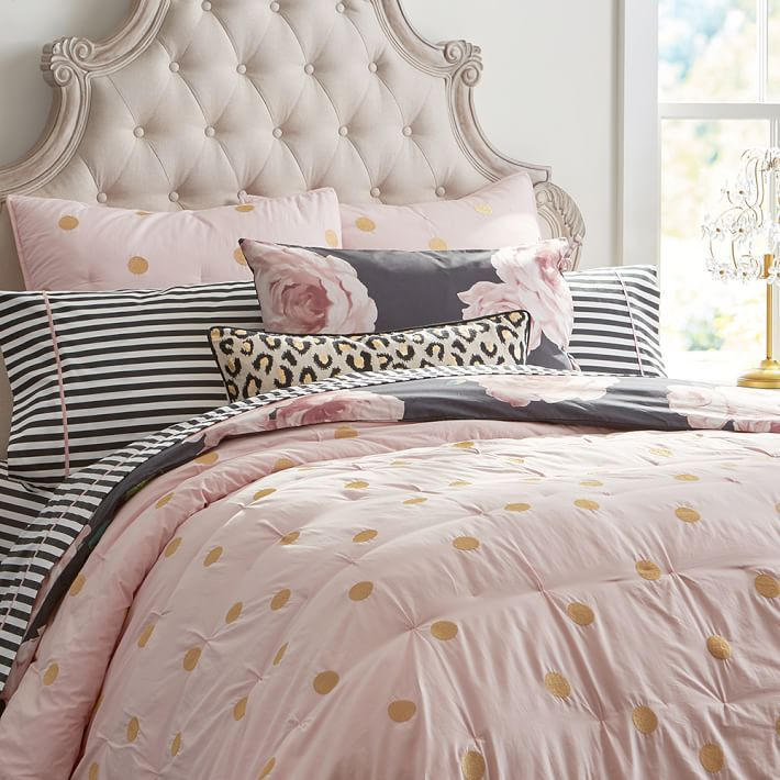 The Emily + Meritt Gold Dot Quilt, Twin, Dusty Pink