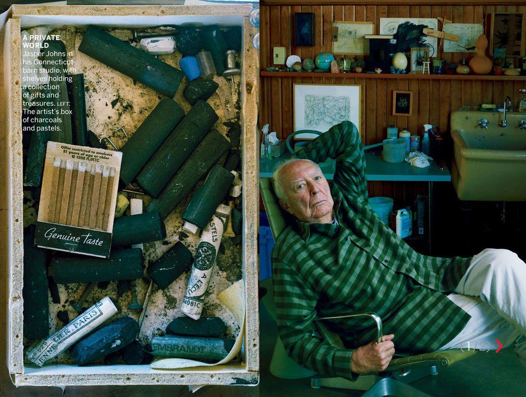 Annie Leibovitz shot the studio of Jasper Johns for the December ...