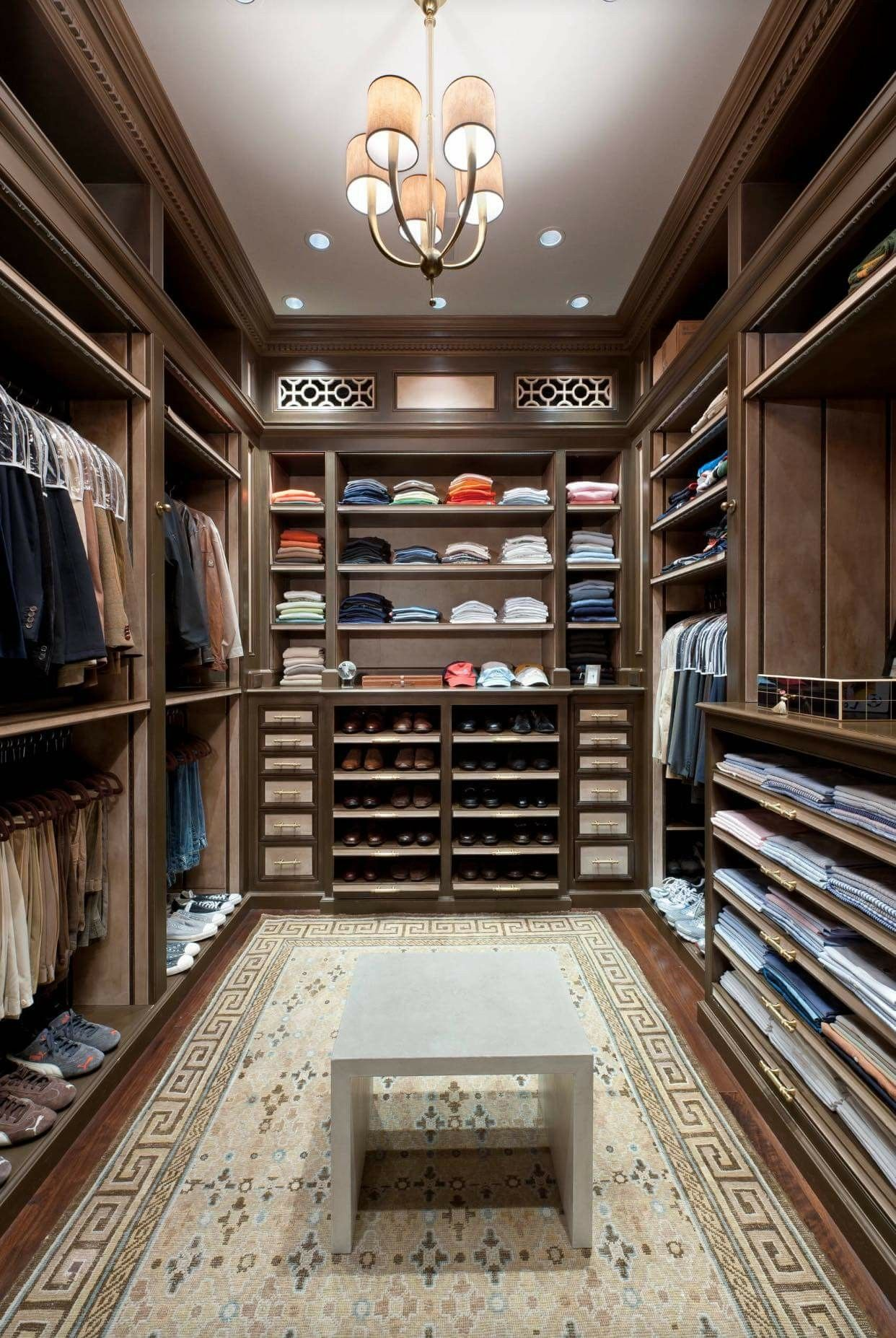 classic look of andark brown walk in closet | Bedroom ...