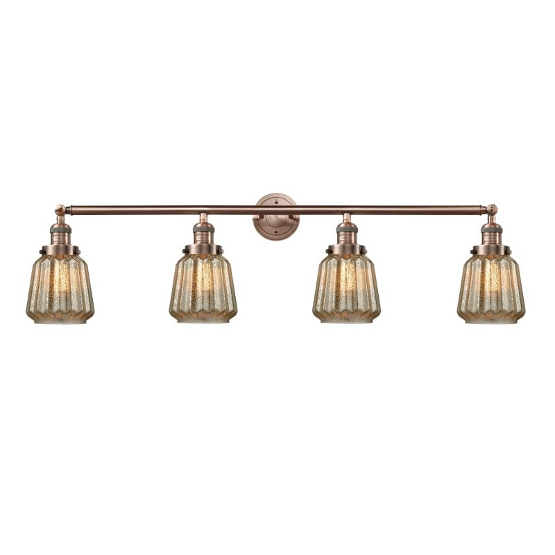 """Photo of Innovations Lighting 215-S Chatham Chatham 4 Light 42 """"Wide Bathroom Vanity Ligh Antique Copper / Mercury Coated Indoor Lighting Bathroom Faucets"""