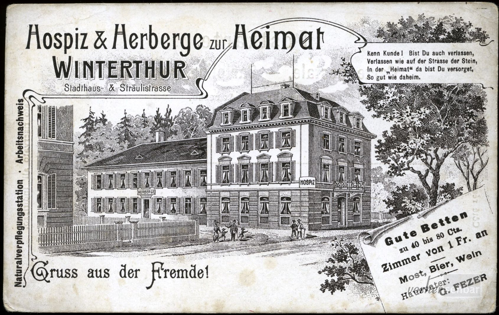 Visitenkarte Herberge Zur Heimat Museumstrasse Um 1900