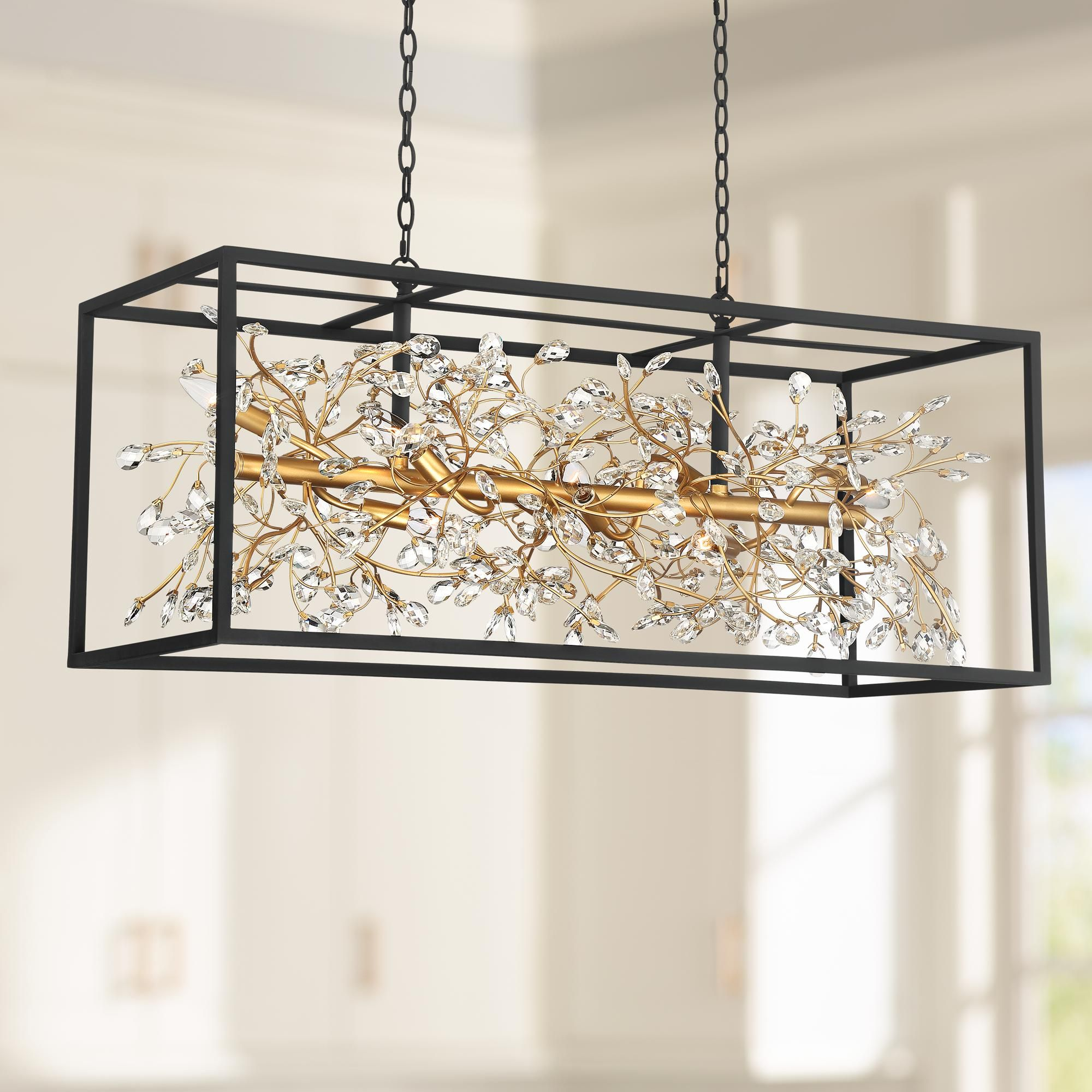 Chandeliers Carrine 38 1 2 W Black And Gold Kitchen Island Light Pendant In 2020 Kitchen Island Lighting Kitchen Island Lighting Pendant Gold Kitchen