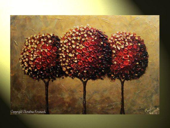 PRINT Art Abstract Red Tree Painting Red by ChristineKrainock, $95.00