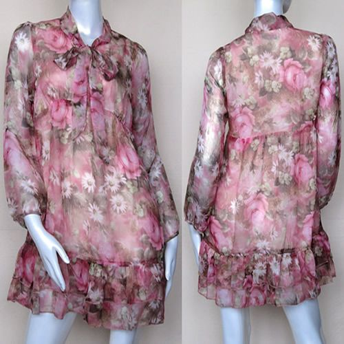 Pink Paisley Vintage Long Sleeve High Waisted Peasant Garden Party Dress  SKU-8803