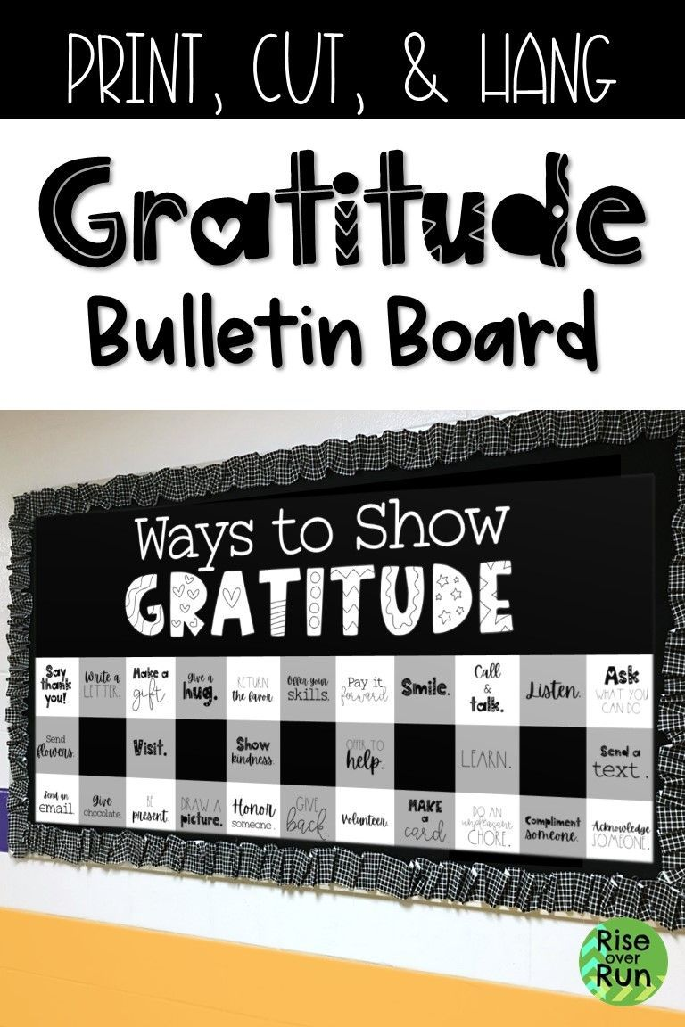 Thanksgiving Bulletin Board with Ways to Show Gratitude