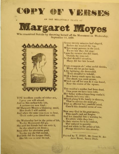 Copy of verses on the melancholy death of Margaret Moyes who committed suicide…