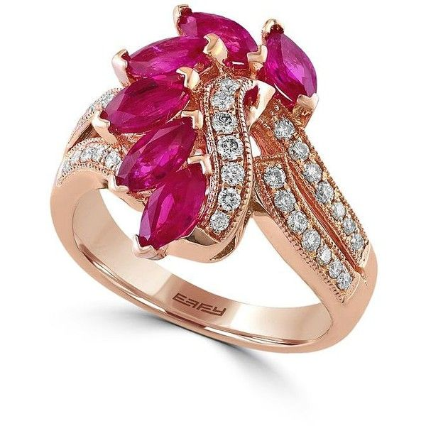 Effy Amore 034 TCW Diamonds Ruby and 14K Rose Gold Ring 1800