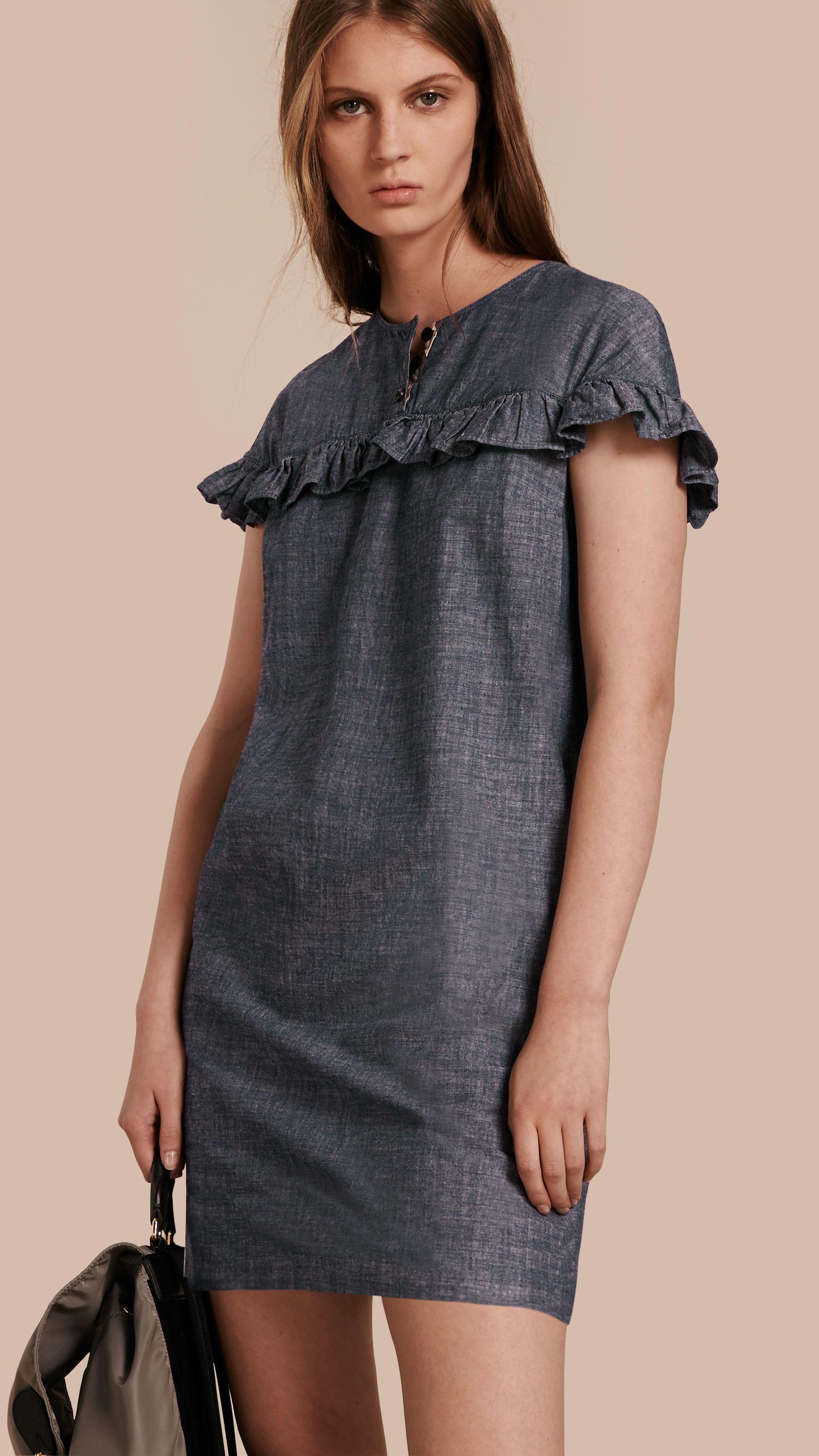 Fashion · Ruffle Trim Cotton Chambray Shift Dress ...