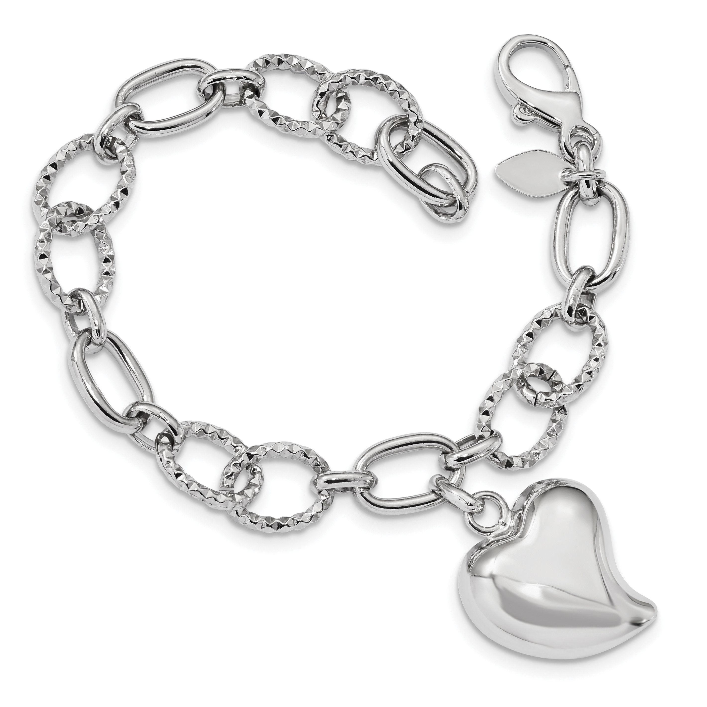 Platin-esszimmer-sets sterling silver rhodium plated polished puffed heart charm bracelet