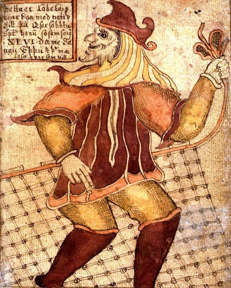 Loki con una sua invenzione: la rete da pesca - Loki, nella mitologia norrena era il dio della grande astuzia, ingegnoso inventore di tecniche, paragonato ad altre divinità ambigue aventi il ruolo del trickster. (ingl. 'colui che gioca dei tiri', ingannatore) è un personaggio, uomo, donna o animale antropomorfo, vorace, abile nell'imbroglio e caratterizzato da una condotta amorale, al di fuori delle regole convenzionali.Wikipedia