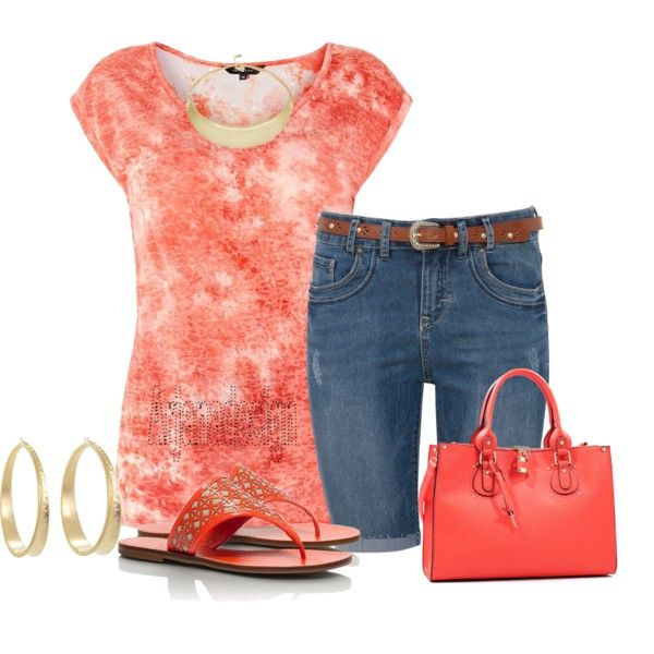 Coral V Neck Tie Dye T-Shirt
