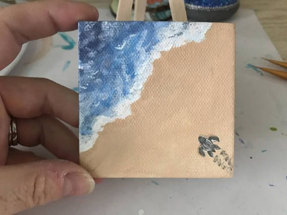 Mini Canvas Sea Turtle Painting Small Art